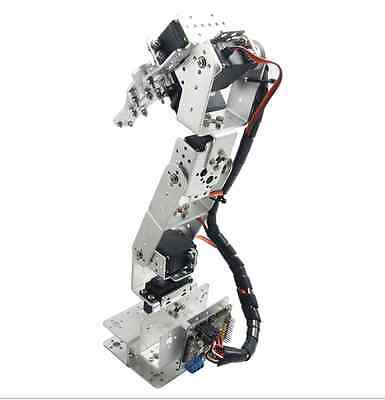 ROT3U 6DOF Aluminium Robot Arm Mechanical Robotic Clamp Claw Silver 6dof robotic aluminium robot arm clamp claw