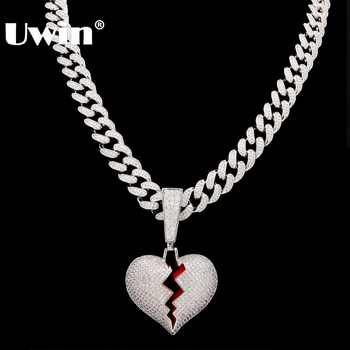 Uwin Broke Heart Pendant Necklace With 13mm Cubic Zirconia Cuban Link Chain Fashion Hiphop Luxury Iced Out Jewelry - DISCOUNT ITEM  40% OFF All Category