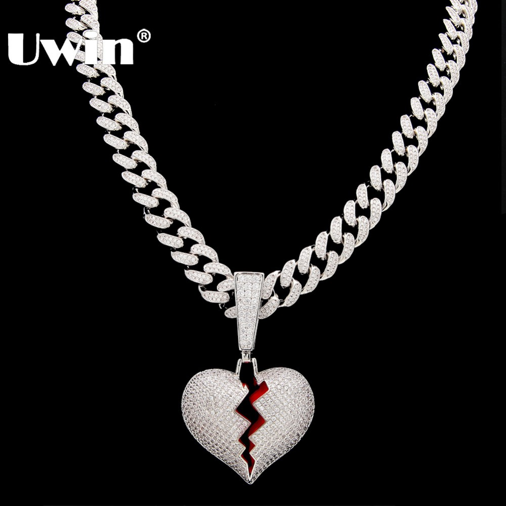 Uwin Broke Heart Pendant Necklace With 13mm Cubic Zirconia Cuban Link Chain Fashion Hiphop Luxury Iced Out Jewelry