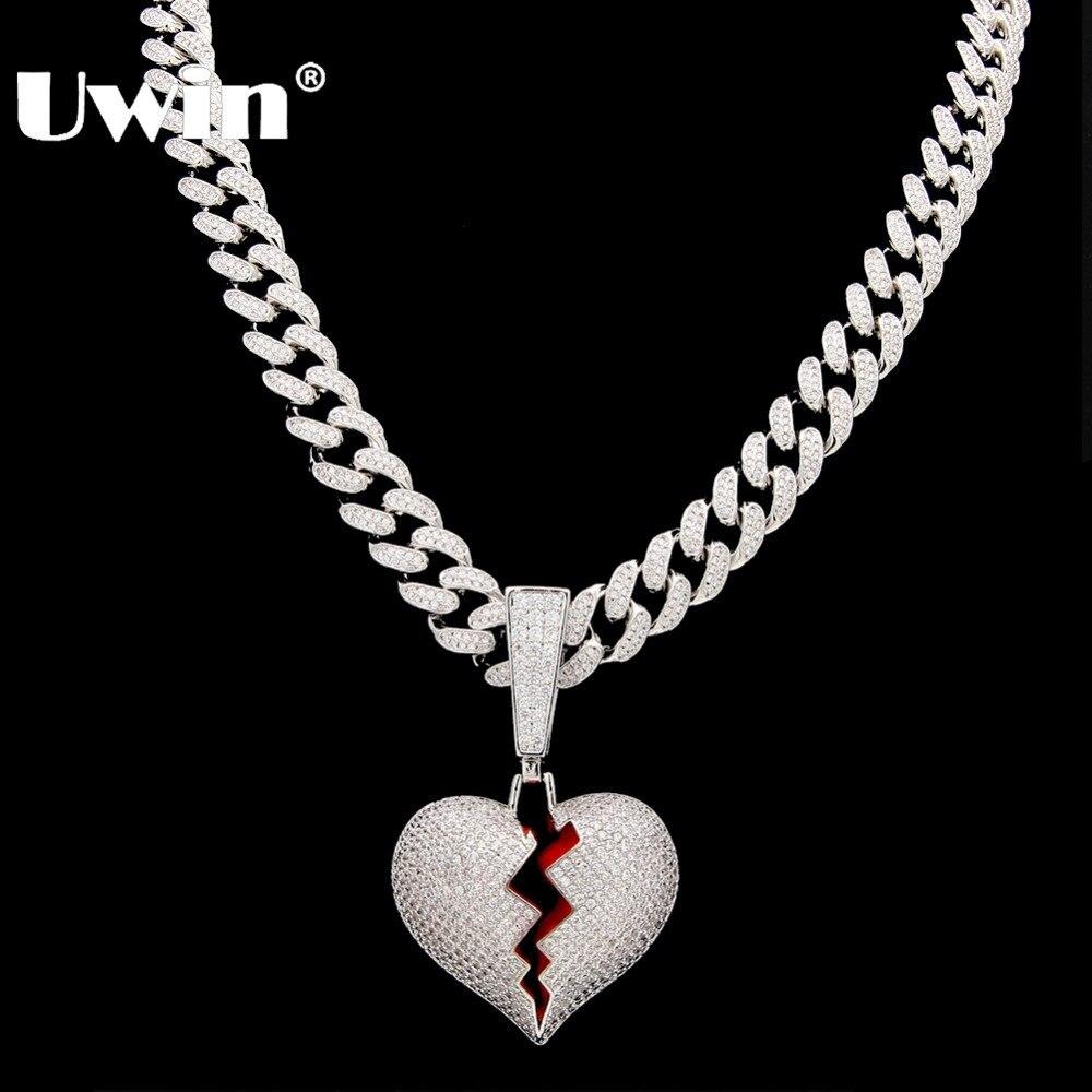 Uwin collier pendentif coeur cassé avec 13mm zircon cubique chaîne à maillons cubains mode Hiphop luxe glacé bijoux
