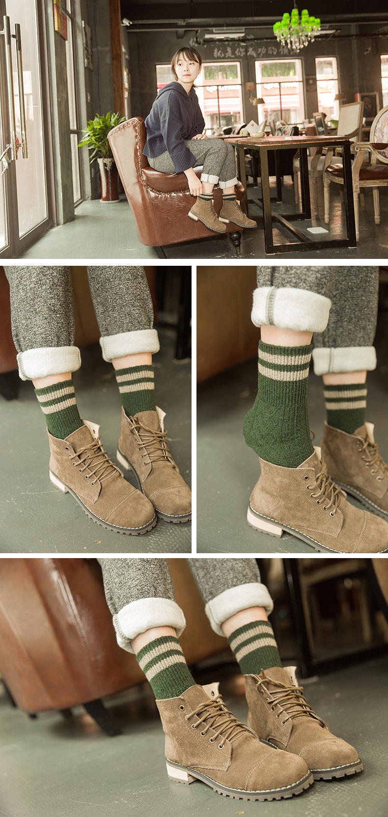HTB1NTPOadfvK1RjSspfq6zzXFXaS - 5 Colors New Fashion Retro Wool Women Socks Autumn Winter Wamer Cotton Girl Socks Female Japanese Tube Sock Students Hosiery