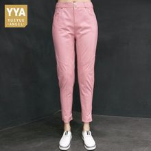 2019 Pink Leather Pants Women Runway Slim Tight Pencil Pants Stage Office Lady Sheepskin Trousers European Red Full Length Woman(China)