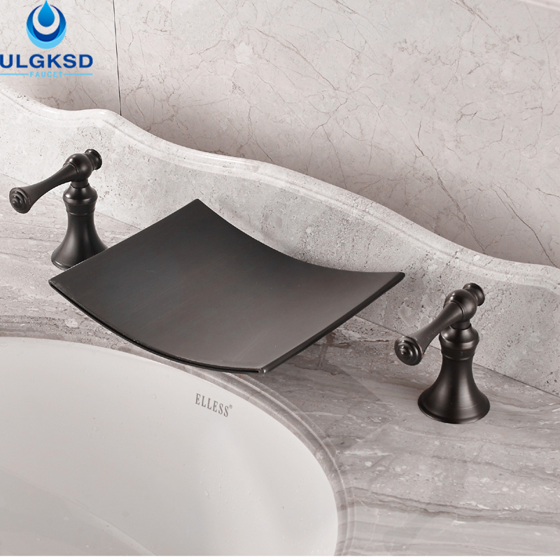 Ulgksd Oil Rubbed Bronze Waterfall Basin Faucet Water Tap Deck Mount Bathroom Sink Faucet Dual Handle Hot and Cold Mixer Tap new luxury oil rubbed bronze deck mounted waterfall basin faucet dual handles sink mixer tap