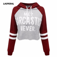 LASPERAL Fashion Hooded Sweatshirt Women Me Sarcastic Never Letter Print Hoodies Autumn Funny Cotton Casual Hipster