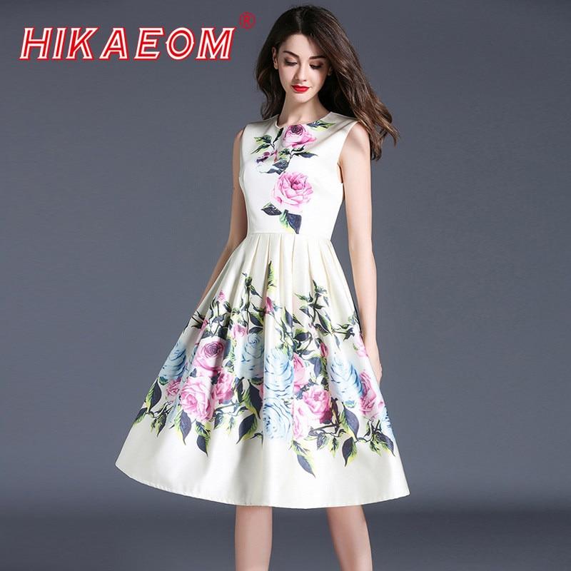 Vestidos De Fiesta Summer Sundress Tunic Elegant Floral Print Slim Vest Dresses Women Rushed Casual Wild