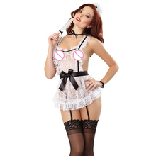 lingerie sexy hot erotic 2016 Womens Temptation Nightwear Lingerie Lace Maid cotton female erotic dress fantasias