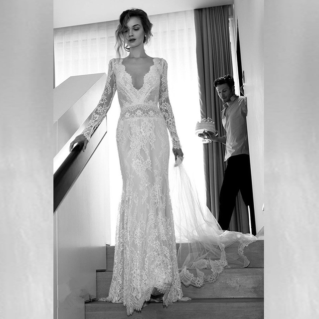 Vintage White Lace Wedding Dress Deep Backless Long Sleeve Dresses Y V Neck Bridal Gowns