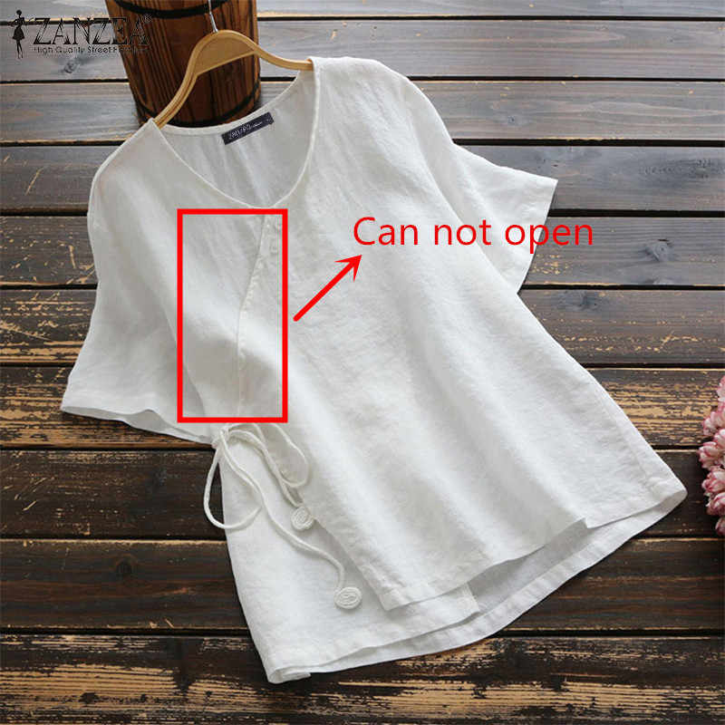 ZANZEA Estate VintageBlouse Delle Donne Breve Camicia di Cotone Del Bicchierino-manicotto di Lavoro Solido Blusas Casual Veste Femme Tunica Magliette e camicette Femininas Più Il Formato