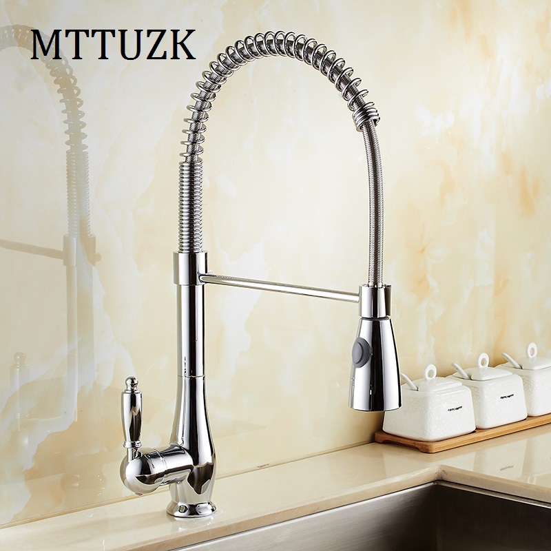 MTTUZK Spring Style Chrome Finishe Kitchen Pull Faucet Mixer Dual Sprayer Swivel Spout Rotatable Hot Cold Faucet Sink Mixer Taps free shipping high quality chrome brass kitchen faucet single handle sink mixer tap pull put sprayer swivel spout faucet