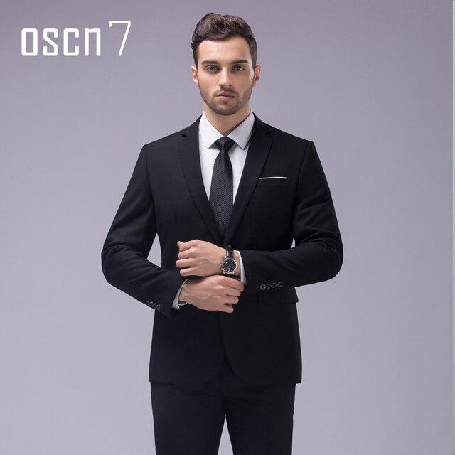 OSCN7 12 Color 2 unids Trajes Slim Fit Muesca Solapa de Los Hombres Smoking de la Boda Del Novio de negocios de Ocio 2017 Últimos Diseños Bragas de la Capa S-4XL