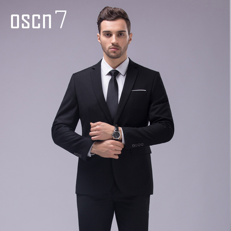 OSCN7 12 Color 2pcs Slim Fit Suits Men Notch Lapel Business Wedding Groom Leisure Tuxedo 2019 Latest Coat Pant Designs S-4XL