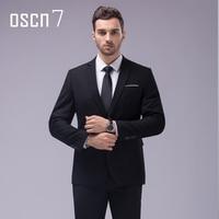 OSCN7 12 Color 2pcs Slim Fit Suits Men Notch Lapel Business Wedding Groom Leisure Tuxedo 2017 Latest Coat Pant Designs S 4XL