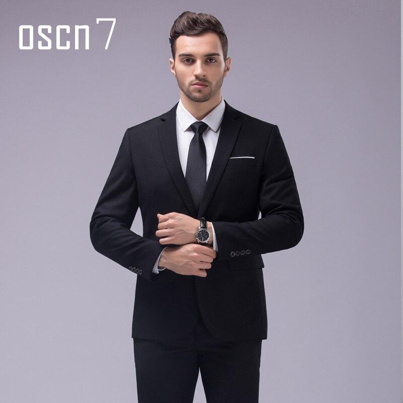 Oscn7 12 Color 2 unids slim fit Trajes hombres Notch lapel negocios boda novio ocio Tuxedo 2017 últimas Bragas de la capa diseños s-4xl