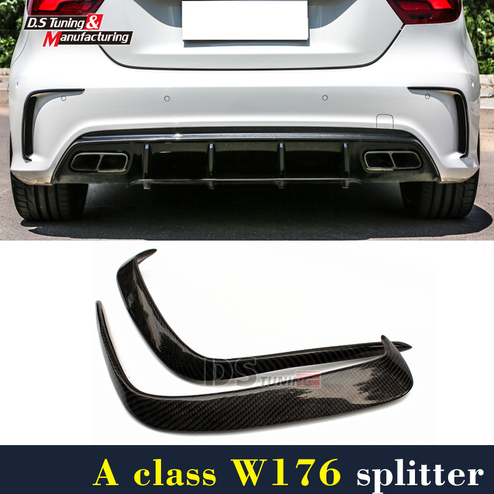 Mercedes W176 Carbon Fiber Rear Bumper Canards For Benz A Class A45 AMG Package 2012 + Rear Air Dam Trimming yandex mercedes x156 bumper canards carbon fiber splitter lip for benz gla class x156 with amg package 2015 present