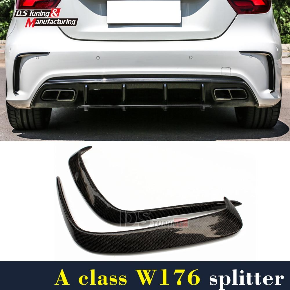 Mercedes W176 Carbon Fiber Rear Bumper Canards For Benz A Class A45 AMG Package 2012 + Rear Air Dam Trimming
