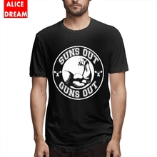Suns Out Guns Tee Men Fashion Streetwear Homme Black 100% Cotton Casual Shirt Crewneck Plus Size Camiseta