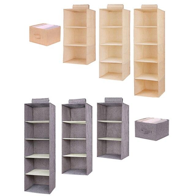 Cotton Closet Wardrobe Cabinet Organizer Hanging Pocket Drawer Clothes Storage Clothing Home Organization Accessories Supplies