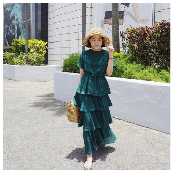 Nuevo diseño de calidad de moda para niñas, vestido de fiesta verde con volantes, Vestido de playa de verano para mujeres, vestido ajustado para niñas de Escuela Bonita # L256-in Vestidos from Ropa de mujer on AliExpress - 11.11_Double 11_Singles' Day 1