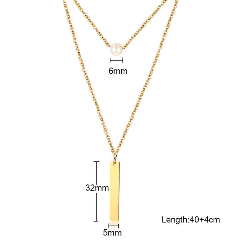 Elegant Double Chains Necklace Women's One Beads Bar Pendant Gold Color Stainless Steel Girls Female Chocker Collier Femme Gifts