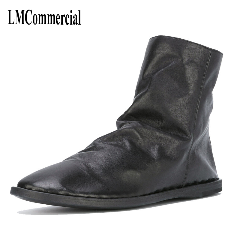 The new winter boots leather men and retro zipper flat all-match Martin boots casual shoes breathable handmade fashion British martin boots men s high boots korean shoes autumn winter british retro men shoes front zipper leather shoes breathable