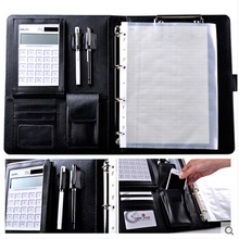 CAGIE A4 Pu Leather Vintage Padfolio Business Manager Folder With Calculator Spiral File Folders Office Brand