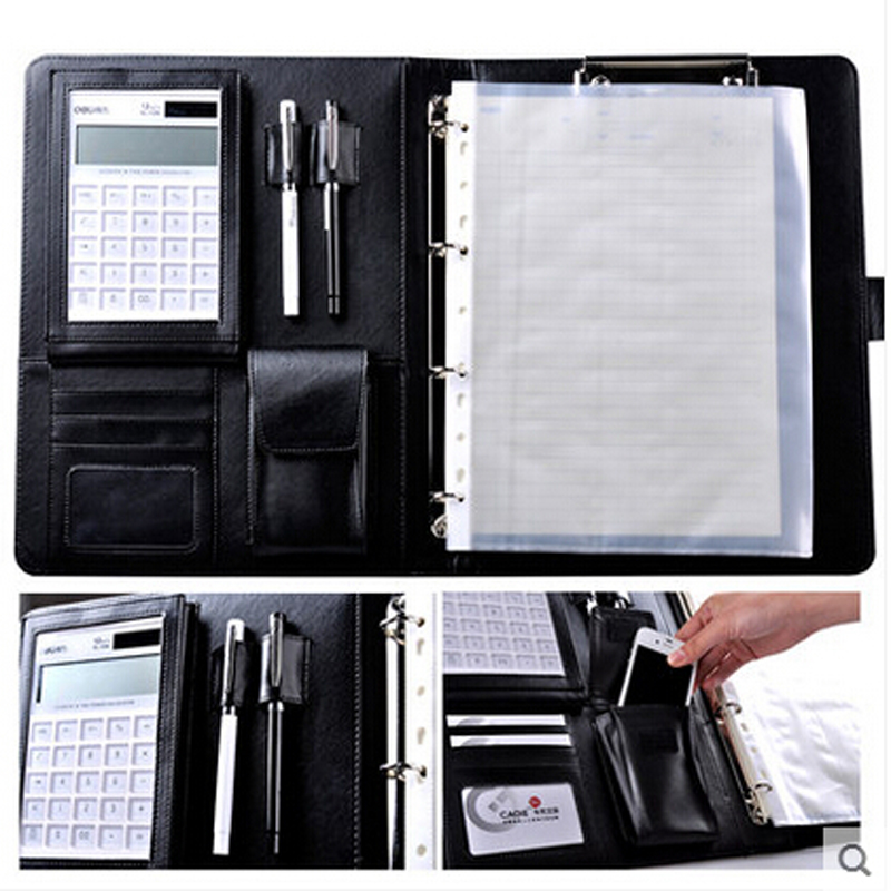 CAGIE A4 Pu Leather Vintage Padfolio Business Manager Folder With font b Calculator b font Spiral