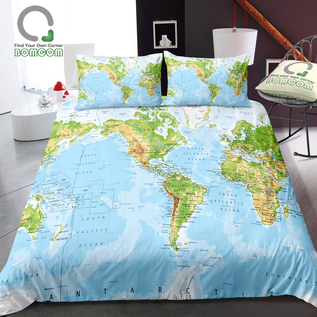 US $32.99 40% OFF|BOMCOM 3D Digital Printing Colored World Map Detailed  World Map Borders Countries Roads Cities Duvet Cover Sets 100%  Microfiber-in ...