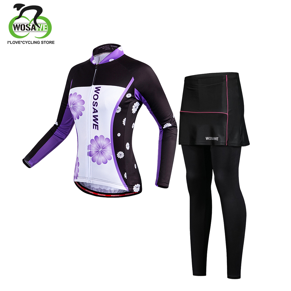 WOSAWE Women Cycling Jersey Set Race Cycling Clothing Clothes Purple Long Sleeve MTB Road Bike Bicycle Suit Roupa ciclismo