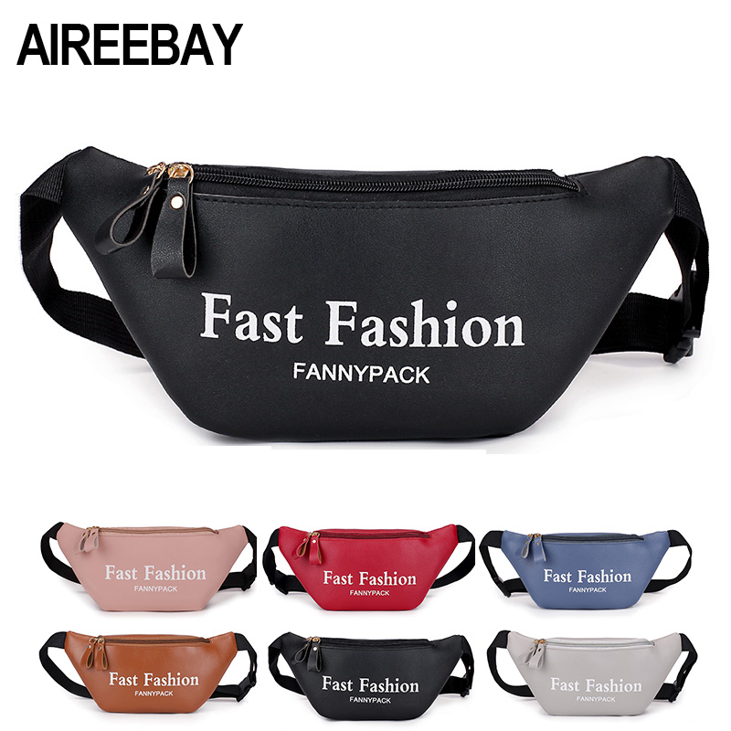 AIREEBAY 2019 Fashion Women Fanny Pack Black Female Waist Bags PU Leather Pink Small Belt Bag For Lady Travel Phone Chest Bags
