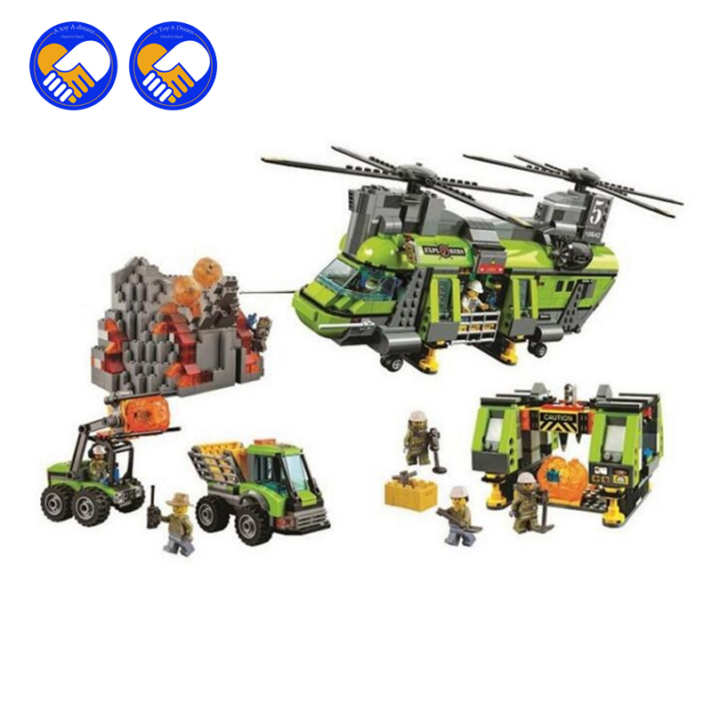 (A Toy A Dream) 10642 City Series Volcano Heavy-lift Helicopter Explorer scientist Building Block Bricks Toys Gift For Children jie star fire ladder truck 3 kinds deformations city fire series building block toys for children diy assembled block toy 22024