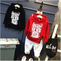 Children's clothing 2017 spring new boy print hooded hem zipper tide cotton sweater children's sweatershirt
