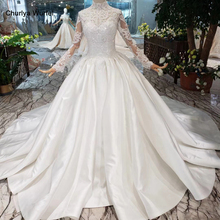 HTL211 satin muslim wedding dresses high neck long sleeves Middle Eastern style gowns cheap sparkly reflective dress