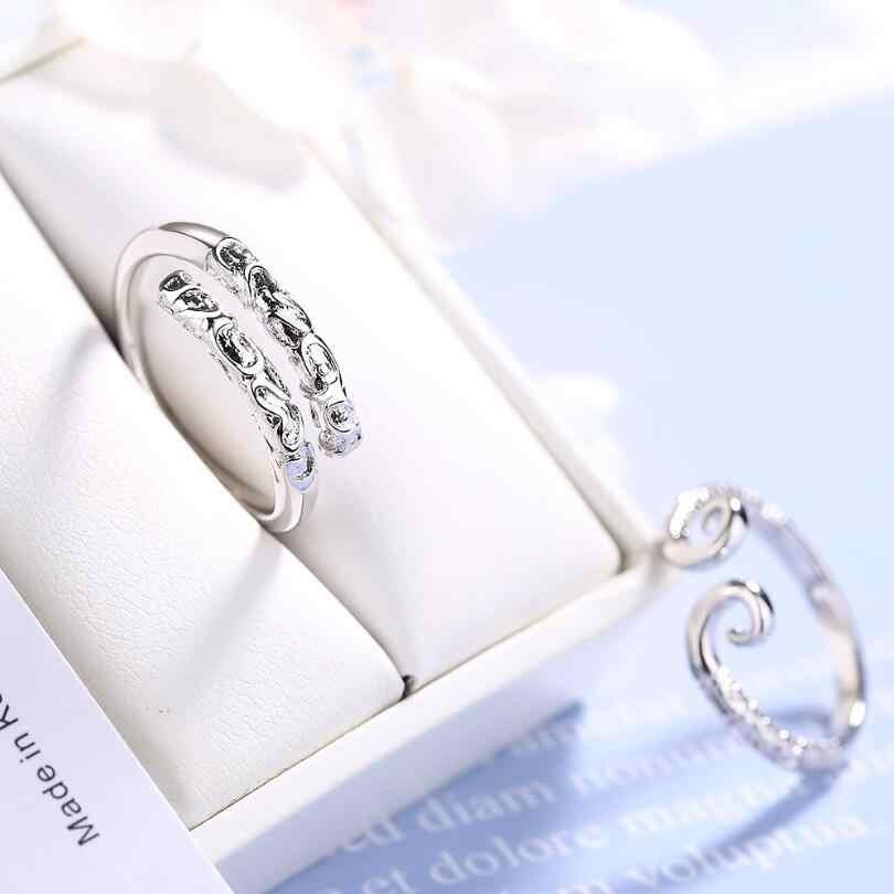 הידוק מהודר כישוף זהב חישוק פתיחה לנשים זוג 925 כסף סטרלינג תכשיטי אביזרי מסיבת מתנת SAR97