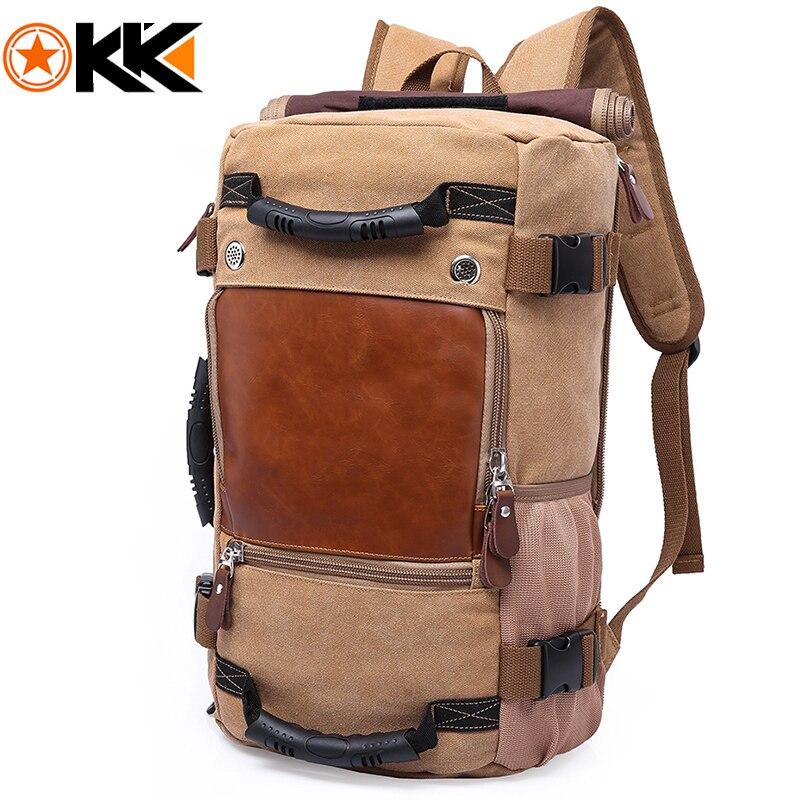 KAKA Vintage Canvas Travel Backpack Men Women Large Capacity Luggage Shoulder Bags Backpacks Male Waterproof Backpack