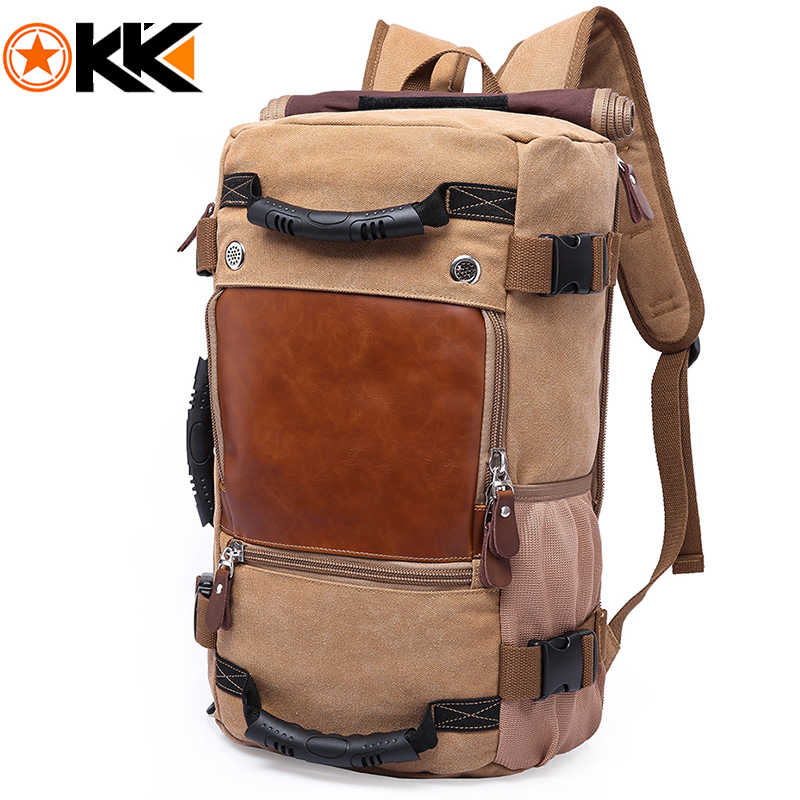 KAKA Vintage Canvas Travel Backpack Men Women Large Capacity Luggage Shoulder Bags Backpacks Male Waterproof Backpack bag pack