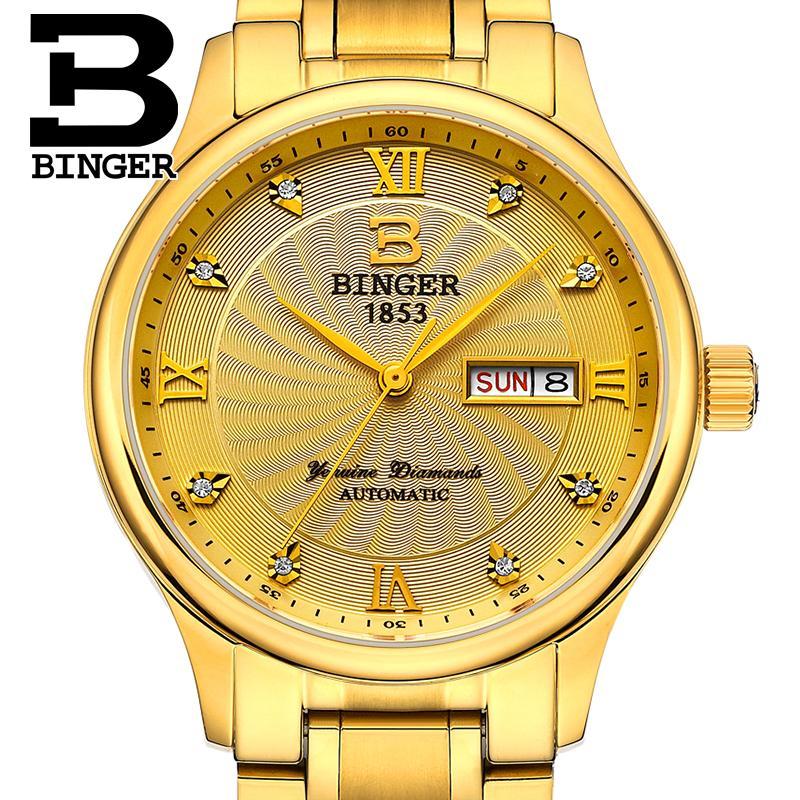 Prix pour Suisse hommes montre de luxe de marque horloge binger lumineux montres à quartz complet en acier inoxydable étanche b603b-8