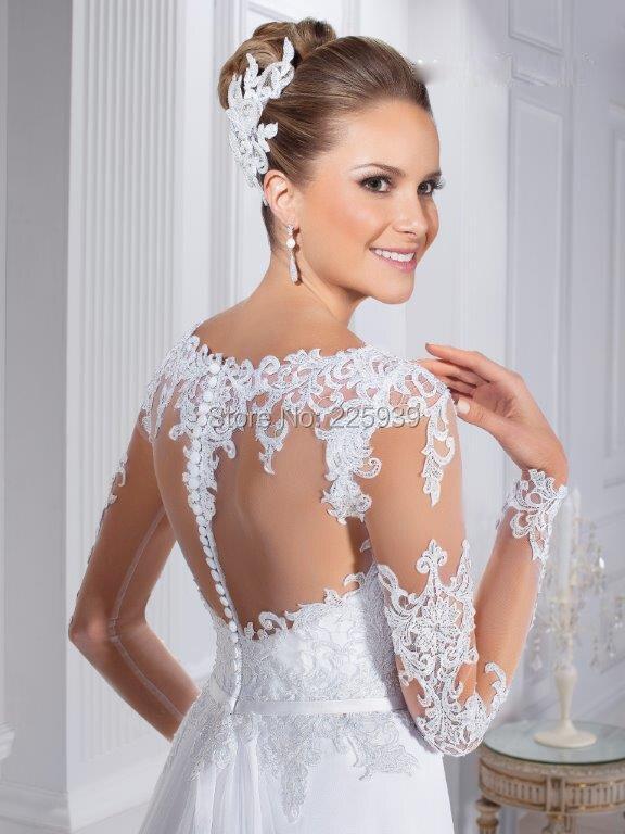 f6e9cbbab8 Nuevos Elegantes Largos Vestidos de Novia de Cuello Barco Hermoso Apliques  Brillo Con Cuentas Encuadre de cuerpo entero Una Línea de Vestidos de Novia  de ...