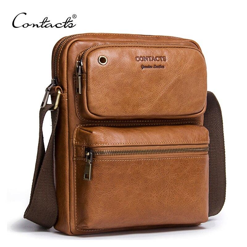 CONTACT'S 2018 Новое поступление из натуральной яловой кожи Для мужчин Креста тела сумка сумки на ремне для Для мужчин сумка-портфель
