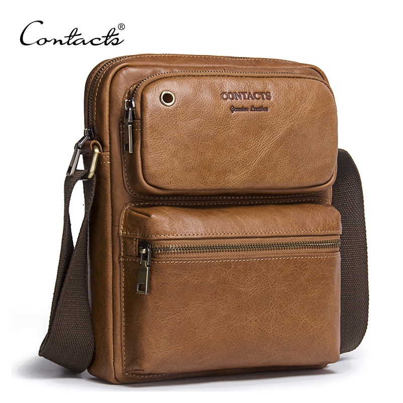 CONTACT'S 2018 New Arrival Genuine Cowhide Leather Men's Cross Body Bag Shoulder Bags For Men Messenger Bag Portfolio