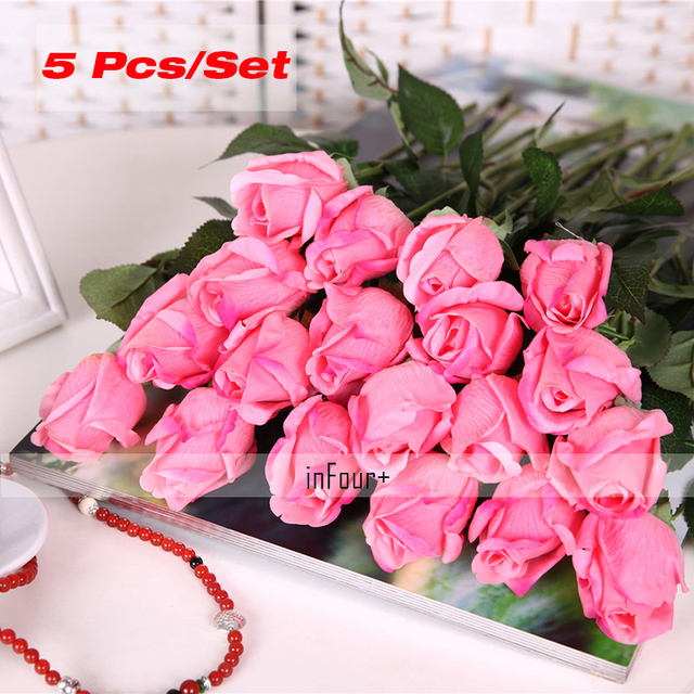 Deep pink rose vintage home decor flower real touch rose silk deep pink rose vintage home decor flower real touch rose silk flowers artificial flowers for wedding mightylinksfo Image collections