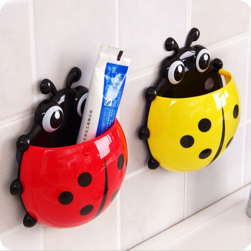 Lovely Ladybug Toothbrush Holder Toothpaste Mount Rack Suction Hooks Tooth Brush Container Bathroom Set Accessories ...