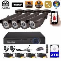 Eyedea 8 CH Surveillance DVR Recorder 1080P 2 0MP Black 5500TVL Outdoor Waterproof Night Vision CCTV