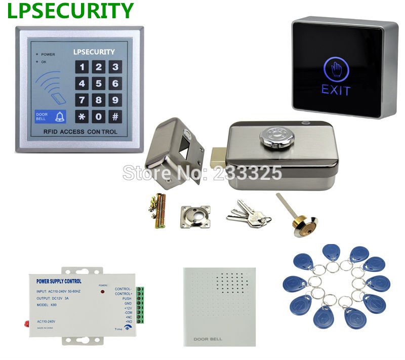 LPSECURITY RFID keypad 125KHZ Electric Control gate Door mute motorized Lock castle 10 tags lpsecurity 10 tags or 10 cards 125khz gate door lock rfid keypad proximity reader access controller wg26 input for slave reader