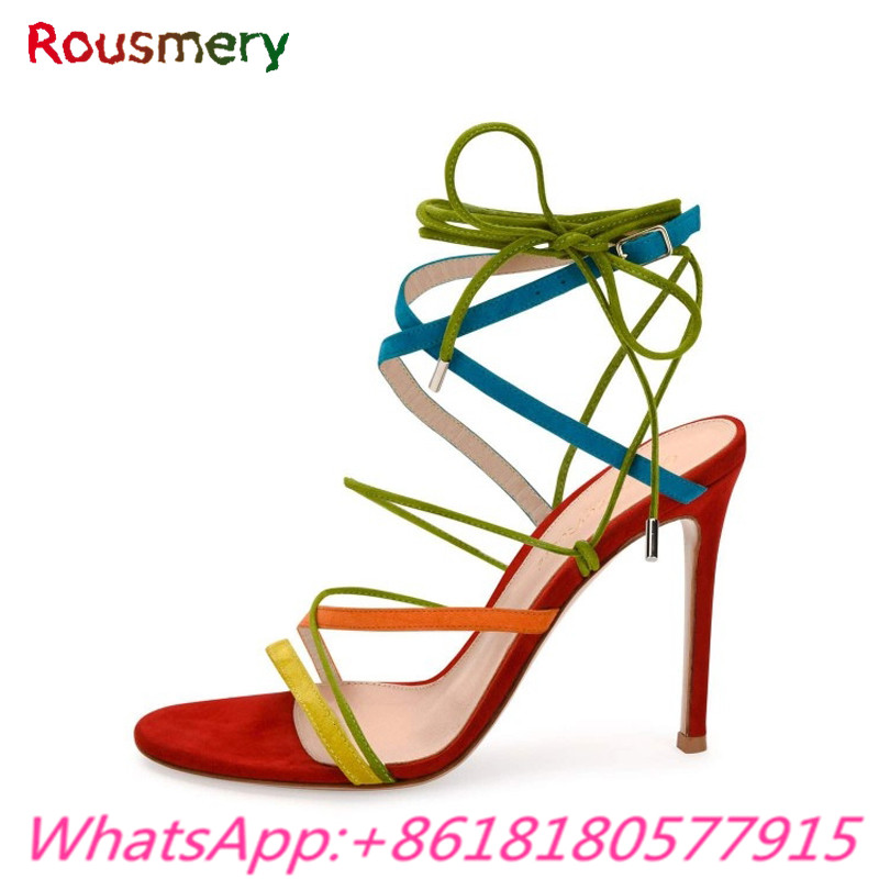 Attractive Colorful Thin High Heels Woman Shoes Summer Mixed Colors Cross-tied Woman Sandalias Mujer Fashion Tenis Feminino