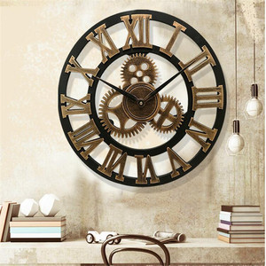 3D large classic vintage wooden wall clock retro gear hanging clock Roman numeral horologe European style decor living room(China)