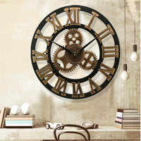 3D large classic vintage wooden wall clock retro gear hanging clock Roman numeral horologe European style decor living room