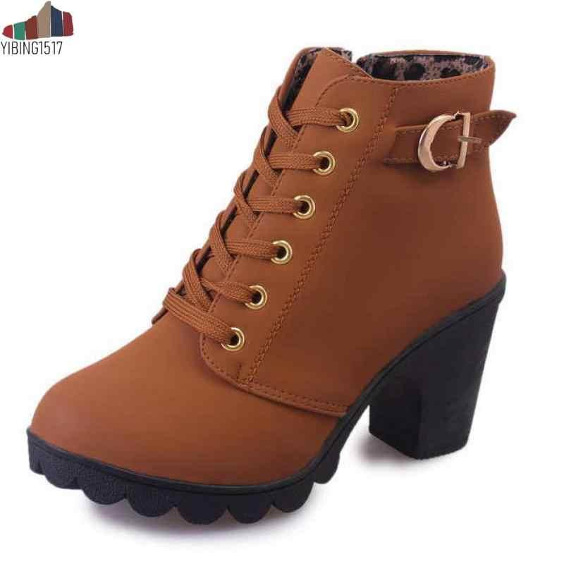 YIBING1517 Plus Size 35-43 Mùa Đông Nữ Casual Ấm Mắt Cá Chân Giày Chống Thấm Nước Giày Cao Gót Tuyết Martin Giày Botas Bằng Sáng Chế botas Muje