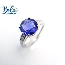 Женское кольцо из серебра с танзанитом 3 карата