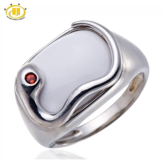 Hutang Aagte y Granate Blanco Sólido 925 de Plata de la Serpiente Del Anillo de la Piedra Preciosa Joyería Fina