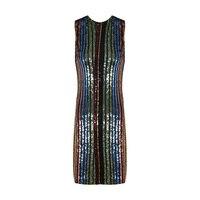 Fashion Women Sequin Mini Dress Night Club Party Dress Sexy Sleeveless O Neck Color Striped Bodycon
